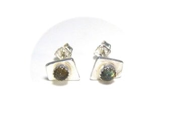 Silver Polygon Stud Earrings with Small Labradorite Gemstone and Sterling Silver