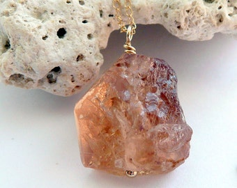 Handcrafted Artisan Imperial Topaz Nugget 14kt Solid Gold Minimalist Bohemian Gift for Her One of A Kind Necklace