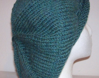 Rolled Brim Wool Tam - Slouchy Knit Beret - Knitted Dreadlock Tam - Jade Heather