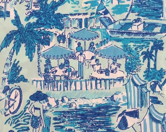 "aquamarine fresh catch toile poplin cotton fabric square 18""x18"" ~ lilly pulitzer"