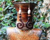 Tribal Earrings, Wood Earrings, Spiral Earrings, Dangle Earrings, Moca Tribal African Wood Spiral Earrings