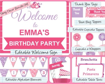 Party Decor Bundle,Editable PDF Welcome Sign, Alphabet Banner, Cupcake Toppers, Table Tents, Straw Flags, Thank You Tags & much more PDP-041