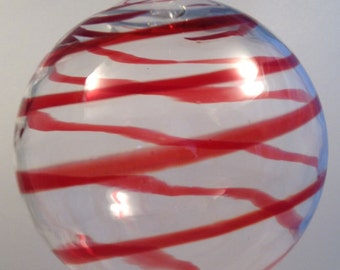 Ornament, Hand Blown Glass Globe, Red Stripes