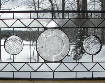 Crystal Diamonds stained glass panel window valance sidelight