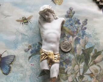 Painted German Jesus Doll Part Figural Statue Antique Religious China Bisque Art Shrine Assemblage Relic