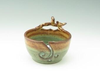 Handmade Pottery Yarn Bowl - Pottery Lovebirds on a Branch 6 inch Crochet Bowl - Honey Brown & Sage Green Stoneware Crafter's Ribbon Bowl