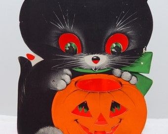 "Vintage Norcross Stand-Up Halloween Card Black Cat w Pumpkin * LARGE 6"" x 8"" *"