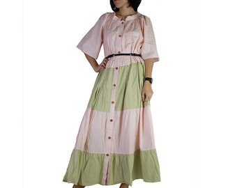 Beautiful Pink and Green Cotton Patchwork Long Maxi Dress Oversize Buttons Long Tunic (D 10)