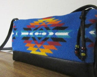 Wool Cross Body Bag Purse Shoulder Bag Black Leather Native American Southwest Blanket Wool from Pendleton Oregon