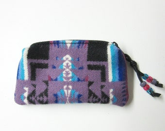 Wool Zippered Pouch Coin Purse Change Purse Beaded Accessory Organizer Southwest Native American Print