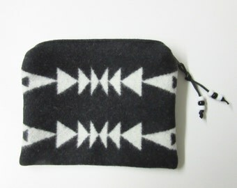 Large Zippered Pouch Accessory Organizer Cosmetic Make Up Bag Pencil Case Native American Print Black White