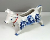 Hand Painted DBL Delft Blue Pottery Creamer Cow with Brass Bell Windmill Holland