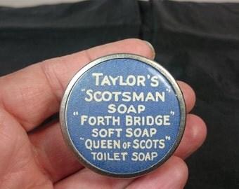 Vintage Taylors Scotsman Soap Advertising Measuring Tape Measure 1930's Retractable Silver Chrome Metal