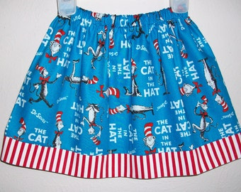 Girls Skirt Dr Seuss Skirt Seuss Party Seuss Clothes Cat in the Hat Skirt toddler skirt School Skirt Twirl Skirt Seuss Birthday Seuss Dress