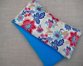 Therapy Rice Bag, Microwave Heat Pack, Rice Heating Pack, Therapy Sack, Red & Blue Flowers , Washable Cover,
