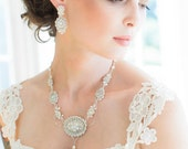 "Edwardian Inspired Pearl Bridal Necklace | Handmade Couture Lace Wedding Jewelry | Ribbon Ties |  "" Amandine"""