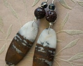 Wild Country - African Opal, Lava stone & Hematite gemstone earrings