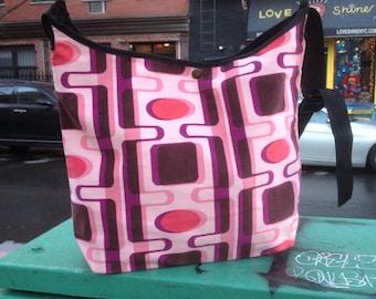 Pink and Brown Corduroy Market Bag, Messenger Bag, Crossbody Shoulder Bag