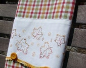 ON SALE Autumn Leaves Fall Harvest Tea Towel Recycled Vintage Pillowcase to Upcycled Dish Towel Kitchen Towel - Kitchen Home Decor Cheerful