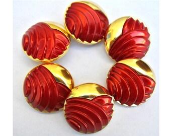 6 Antique vintage plastic buttons, red on gold color base, 30mm RARE