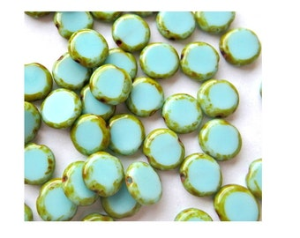 Glass beads , Czech new beads, turquoise, opaque, 10mm, 20 beads