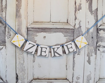 Baby Banner,Woodland nursery, woodland theme, rustic banner,Baby Shower Decor, Birthda party,Arrow banner, personalized