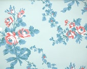 1950s Vintage Wallpaper by the Yard - Floral Wallpaper with Pink Roses and Blue Ribbons on Blue