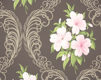 1940s Vintage Wallpaper by the Yard - Pink Flowers and Plume on Brown