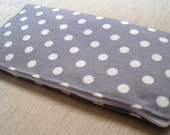 Polka Dots Bright on Soft Gray - Cash Wallet, Clutch, Make Up Bag Large Zippered Pouch - Flat