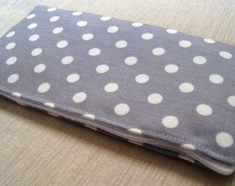 Polka Dots Bright on Soft Gray - Cash Wallet, Clutch, Make Up Bag Large Zippered Pouch - Flat - Ready To Ship