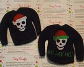 Santa Skull Fleece Sweater Jumper for Elf, Pixie, or Barbie like dolls custom embroidered