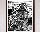 Victorian House, Linocut Print, Block Print, Linoleum Print, Relief Art Print, Lino Cut Print, Art Print, Wall Art, Gift, Art, Gift Idea