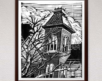 Victorian House, Linocut, Block Print, Relief Art Print, Lino Cut Print, Linoleum Print, Christmas, Wall Art, Gift Idea, For Him, For Her