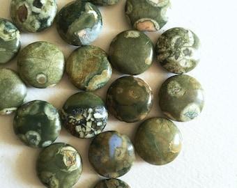15mm Flat Round Rhyolite Beads