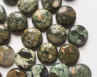 20mm Flat Round Rhyolite Beads