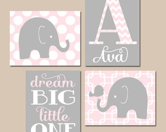 GIRL Elephant Nursery Wall Art, Pink Gray Nursery Decor, Baby Girl Nursery Wall Art, Dream Big Little One, CANVAS or Prints Set of 4 Chevron