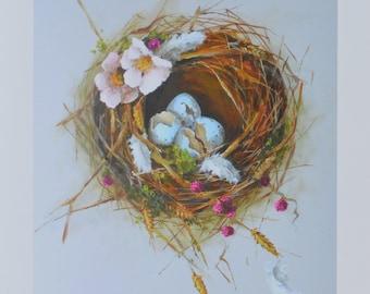 Bird Nest PRINT 8x10 of original painting The Summer Nest