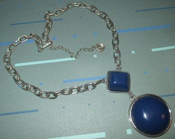 Vintage RARE Kramer MOD 60s Dark Blue Enamel Geometric Shape Pendant Necklace