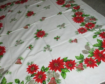 Vintage Mid Century MOD Poinsettia Pine Cone Bell Holiday Christmas Tablecloth
