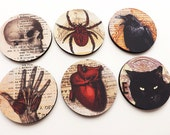Halloween home decor COASTERS hostess gift party favors goth decorations trick or treat spooky scary macabre oddities skull anatomical heart