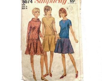 Simplicity Vintage Pattern 6674 - 1966 Drop Waist Dress