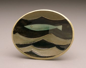 One Fish and Waves- little oval dish- Ruchika Madan