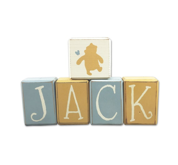 Custom name blocks classic winnie the pooh personalized disney like this item negle Choice Image