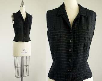 Cherie Vintage / 90s Vintage Black Striped Sleeveless Acetate Rayon Top / Size Medium / Large / Indie Hipster Style / Vest / Shirt / Blouse