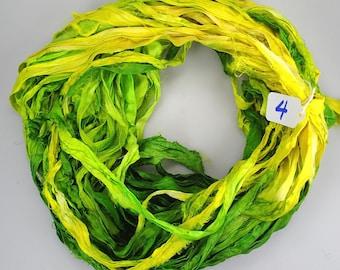 Silk Sari Ribbon, Sari Ribbon, Green sari ribbon, green ribbon, Green silk Sari Ribbon