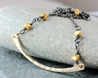 Mixed Metal Necklace Oxidized Silver Gold Filled Vermeil  Handmade Jewelry Two Tone  Metal Necklace Accessories Gift For Mom Wire  Wrapped