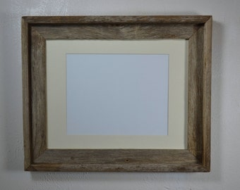 11x14 gray wood picture frame with off white mat for 8x10 or 8x12 or 9x12