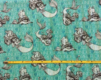 "NEW Little Mermaid Ariel and Flounder on cotton lycra knit fabric 96/4 58"" wide."
