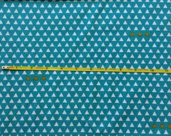 NEW Riley Blake Four Corners Triangle Teal on cotton Lycra  knit fabric 1 yd
