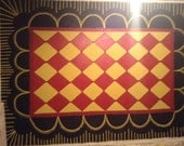 FLOORCLOTH / Gold and Red Diamonds , hand painted rug  COUNTRY PRIMITIVE  Folkart